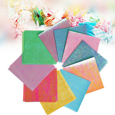 50 Sheet Square Double Side Origami Folding Lucky Wish Paper Glitter Crane Craft