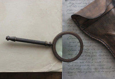 Vintage Handheld Magnifying Glass Magnifier With Brass Handle And Leather Pouch