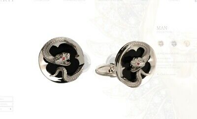 Magerit Jewelry Snake Cuff-links 18K White Gold Diamonds Sapphires And Onyx NEW