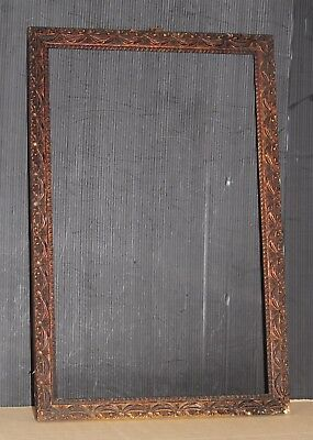 """Picture frame old wood 20"""" high weathered with authentic vintage bronze patina"""