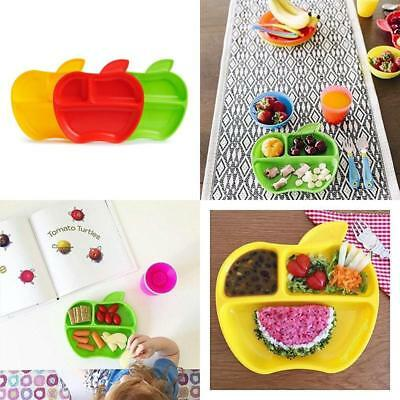 Toddler Feeding Plates Cute Apple Shape Size Portion Divided Bpa Free Set Of 3