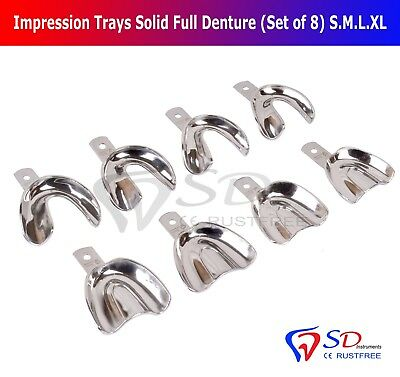 Dental Impression Trays Full Denture Solid (Set Of 8) S-M-L- XL Upper Lower New