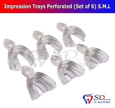 Dental Impression Trays Rim Lock Perforated (Set of 6) S.M.L Upper/Lower Smile