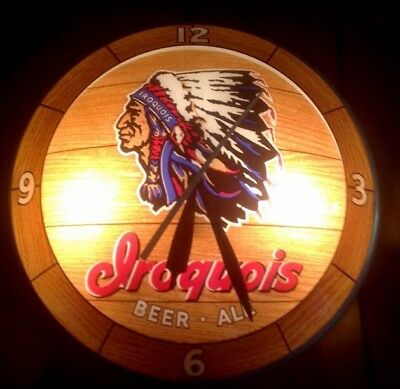 Vintage Iroquois Beer and Ale Double Bubble Indian Chief BAR/ MAN CAVE Clock