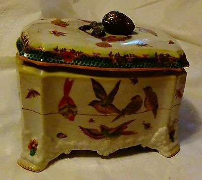 Antique Chinese Porcelain Box with Birds, fish and brass strawberry nob on lid