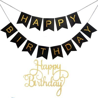 happy birthday banner and cake toppers single sided gold glitter
