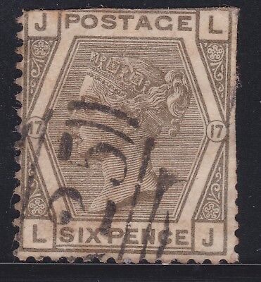 1873 Great Britain Stamps Used Abroad A25 in Malta 6d Plate 17 QV SG147 CV£160+