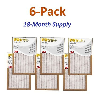 6-Pk (14 x 30 x 1) Filtrete-Basic 3M Air-Filter Replacement Pad Furnace Dust Lot