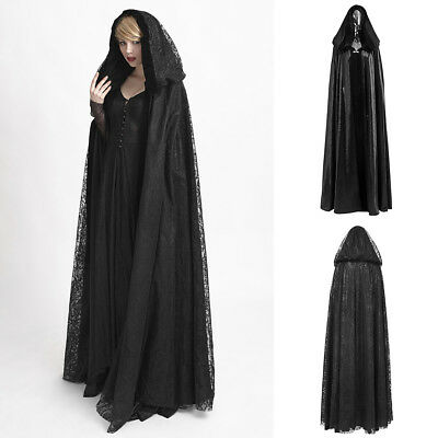 Punk Rave Y-629 Long Black Reversible Cape Cloak Witch Goth Victorian Hood