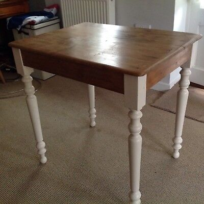 Small Antique Pine Table With Painted Legs
