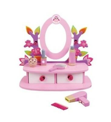 Girls Wooden Dressing Table Vanity Mirror Set with Accessories by Jumini Toys