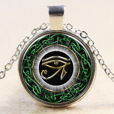 Egyptian Eye of Horus Ra Udjat Glass Art Pendant Chain Amulet Pagan Necklace