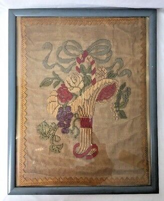 """Antique Victorian Flower Basket Netting Embroidery Needlepoint Framed 17x21"""""""
