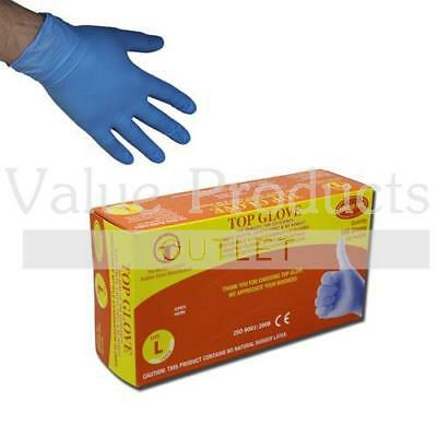 Top Glove Blue Nitrile Powder & Latex Free Disposable Gloves - Boxed x100