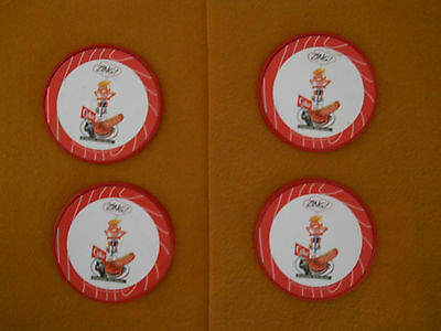 2003 COCA COLA ~ 4 inch RED PLASTIC COASTERS  ~ Set of 4 ~ Display