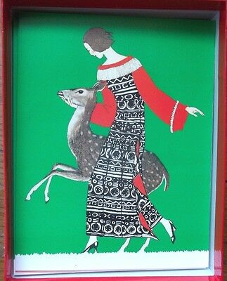 TAME DEER marty POIRET dress fashion FAWN CHRISTMAS holiday GREETING CARDs 9