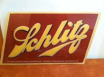 Antique Vintage Bar Advertising Sign Glass for Schlitz Bar Light c. 1950s