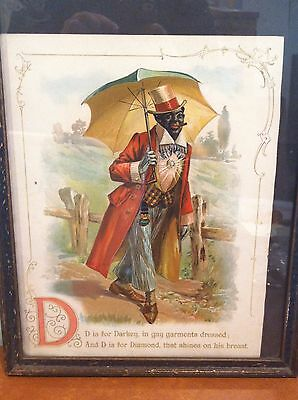 """Antique Black Americana Lithographed Children's Book Page """"D is for Darkey"""" 1897"""
