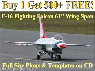 """F-16 Falcon 61"""" WS Giant SCale RC Airplane Plans & Templates on CD In PDF Format"""