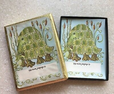 Antioch Bookplates Gummed Paper Labels TURTLE/TORTOISE  40 Sheets Box Opened