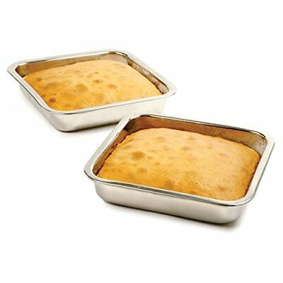 Happy Sales HSSSP-SQ1, 8 Inch Stainless Steel Cake Pan, Square, New