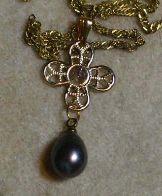 Vintage antique genuine Black Tahitian Pearl estate Art Deco 14ct Gold pendant