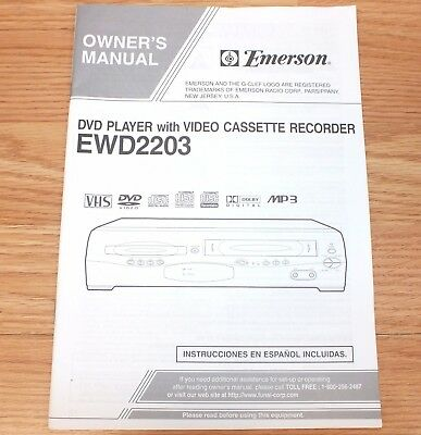 Genuine Emerson (EWD2203) VCR VHS Video Recorder Owners Manual Only **READ**