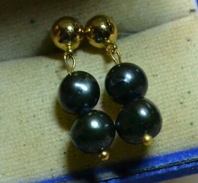 Vintage antique genuine Black Tahitian Pearls estate Art Deco 14ct Gold earrings
