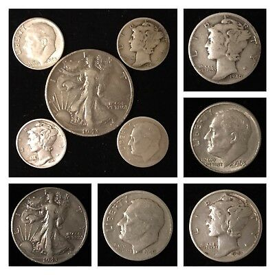 US UNITED STATES 1943-S Walking Liberty Mercury Roosevelt .900 Silver Coin Lot !