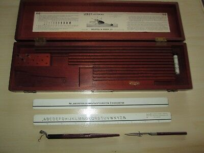 Vintage K & E Keuffel & Esser Leroy Wooden Box with a couple Drafting Tools