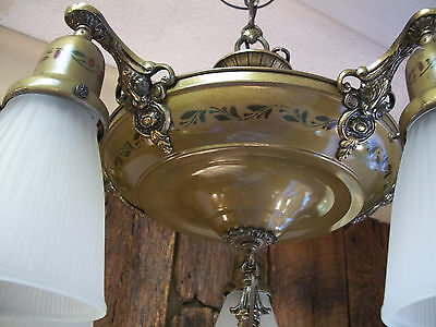Vintage 5- Lite all Brass Original Finish 1920s-30s Style Chandelier/ Fixture