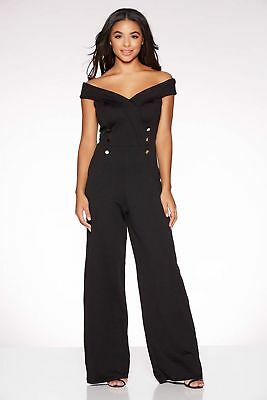 NEW QUIZ  Black Bardot Button Detail Wide Leg Jumpsuit, SZ 14,16,18