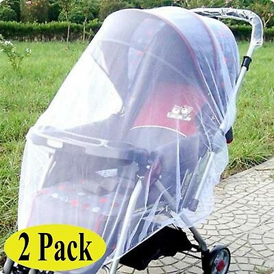 Swity Home 2 Pack Baby Mosquito Net for Strollers Car Seats Cradles White