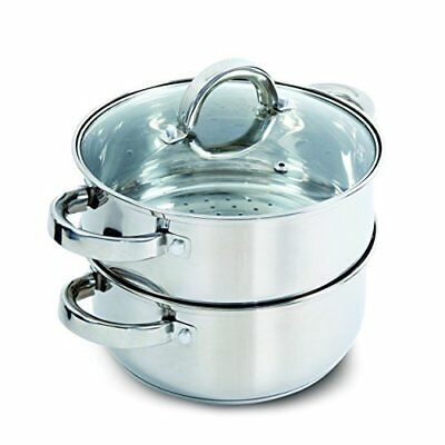 Oster Hali Steamer Set with Lid for Stovetop Use, Stainless Steel, New