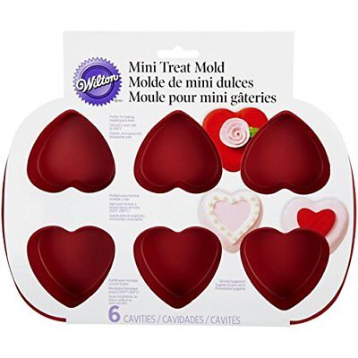 Wilton 6-Cavity Silicone Heart Mold Pan, New