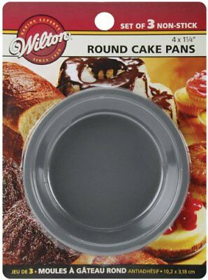 Wilton 2105-1829 Mini Round Pans, 4 by 1.25-Inch, Set of 3, New