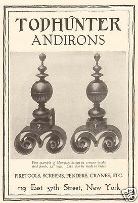 1920s antique TODHUNTER Fireplace GEORGIAN ANDIRONS Fire Tool Equipment DECOR AD