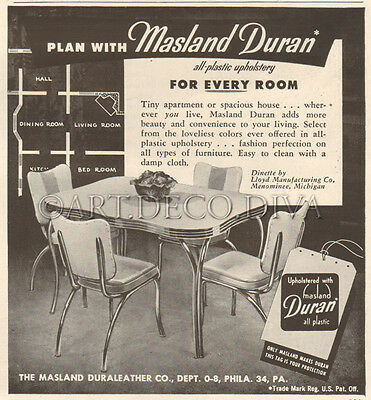 VTG 1950's Masland Duran LLOYD Chrome Vinyl DINETTE Set Chair Furniture Vinyl Ad
