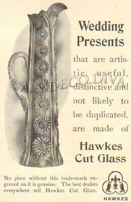 Antique 1903 Hawkes Cut Glass WEDDING PRESENT Gift Ornate Artistic Pitcher Ad