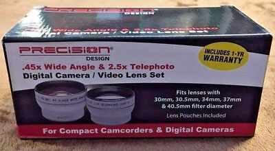 PD .45x Wide Angle  2.5x Telephoto 30mm 30.5mm 34mm 37mm 40.5mm Lens Set (AD675)