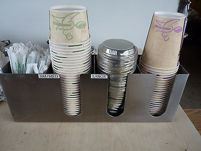 3 Section Ss Cup And Lid Organizer W/  Straw Attachment -Nice-