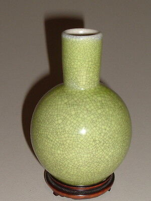 Old Chinese Lime Green Guanyao Crackle Vase ------- Wood Stand ------ No Reserve