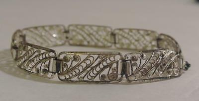 "Vintage Estate STERLING SILVER Signed Germany FILIGREE PANEL BRACELET 7.25"" 7.5"""