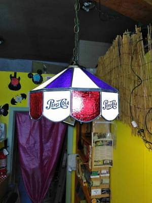 Pepsi Cola Stained Glass Swag Chandelier Lamp Stained Glass MINT!