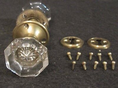 High Quality Set of Antique Glass Door Knobs Escutcheons and Key Hole Covers