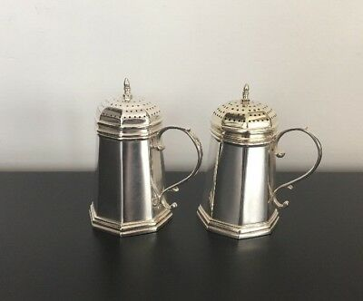 Elegant CARTIER STERLING STYLE LVER YELLOW GOLD VERMEIL SALT AND PEPPER SHAKERS