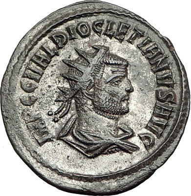 DIOCLETIAN 286AD Silvered  Authentic Ancient Roman Coin JUPITER ZEUS i65102