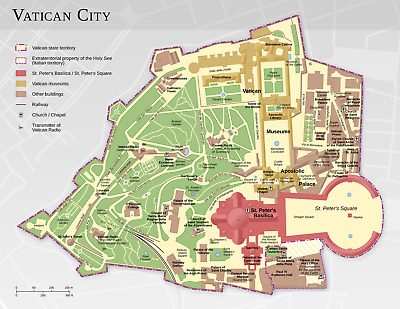 A3 Poster – Detailed Map of the Vatican City (Picture Catholic Church Bible)