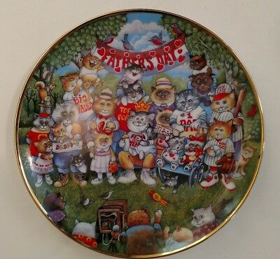 """Franklin Mint """"Purrfect Pops"""" cat plate by Bill Bell. Limited Ed."""