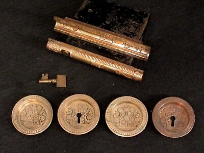 OUTSTANDING! Complete Antique Eastlake Pocket Door Lockset Pulls Working Owl Key
